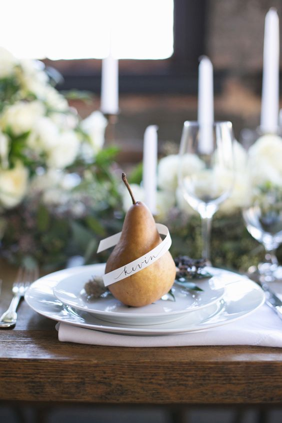 Pear Wedding Inspiration in a Warehouse Setting by Lexi Vornberg (Photography) - via Magnolia Rouge (calligraphy: The Weekend Type)