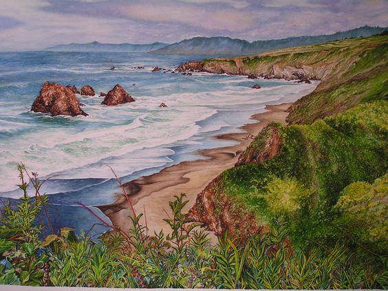 Highway One Mendocino CA - Watercolor Painting