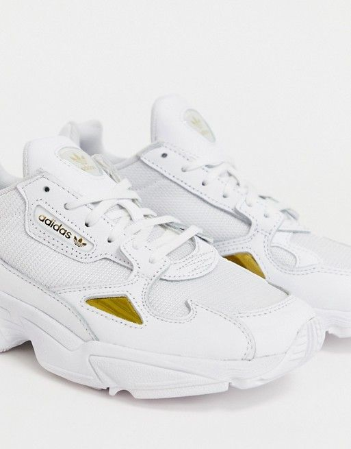 adidas Originals Falcon sneakers in white and gold in 2019 ...