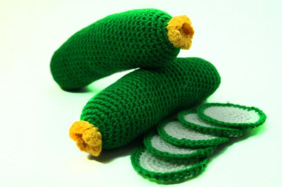 Crochet cucumber handmade plushie toy education crochet knitted fruit vegetable: