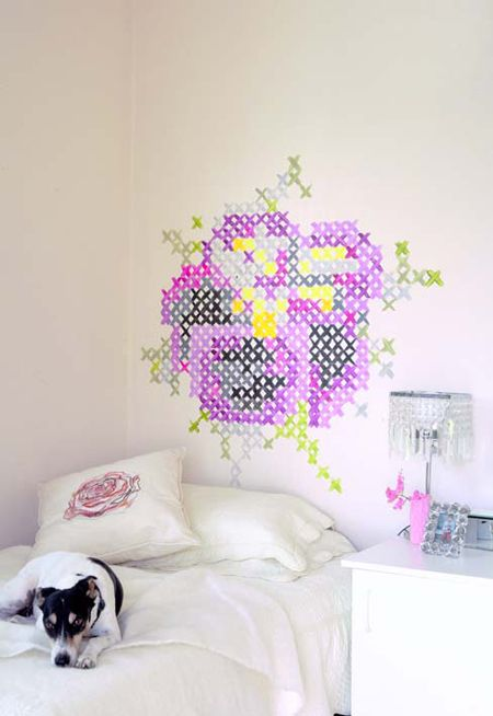 Another cross stitch wall for the home pinterest for Cross stitch wall mural