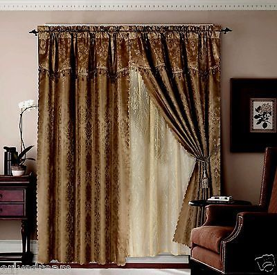 Jacquard Window Curtains / Drapes Set with Attached Valance & Lace ...