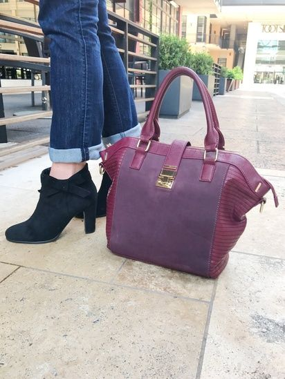 A pair of black bow booties is the perfect match for a burgundy bag.  #ssCollective #ShopStyleCollective #ootd #mylook #MyShopStyle #springstyle #currentlywearing #todaysdetails #getthelook #summerstyle #wearitloveit #lookoftheday #booties #purse #accessories
