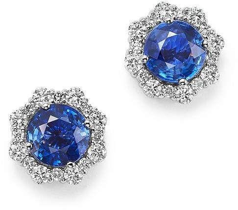 Bloomingdale S Diamond Blue Blue Sapphire Halo Stud Earrings In 14k White Gold 100 Exclu Emerald Earrings Studs 14k Gold Earrings Studs Blue Sapphire Halo