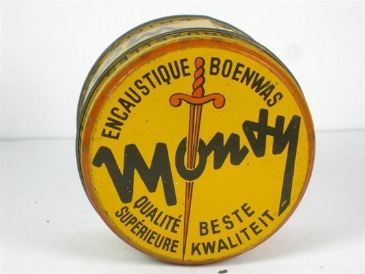 Boot Polish Tin Belgian Monty Boite Ancienne Encaustique Boenwas