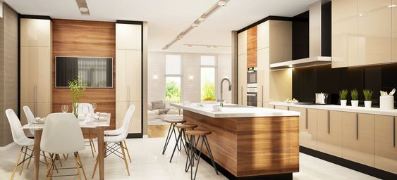 Hidden Island Support Bracket Modern Large Kitchens Modern Kitchen Living Room Kitchen Island Design