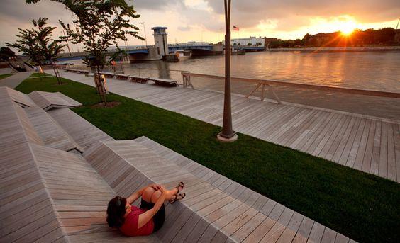 Urban landscape architecture design - Stoss Landscape Urbanism - The City Deck in Green Bay, WI - winner of the Landscape Architecture award @ the 2012 US National Design Awards