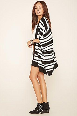 Striped Shawl Cardigan