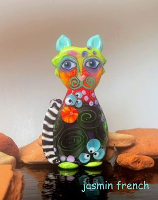 jasmin french ' ABRACADABRA-cat ' lampwork focal glass art bead