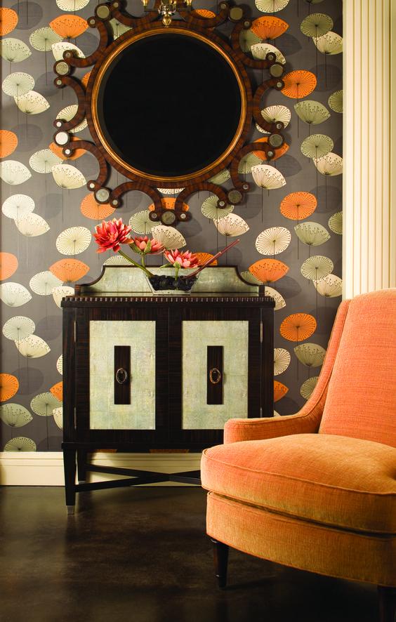 Orange chairs tuxedos and clock on pinterest - Sanderson dandelion clocks wallpaper ...