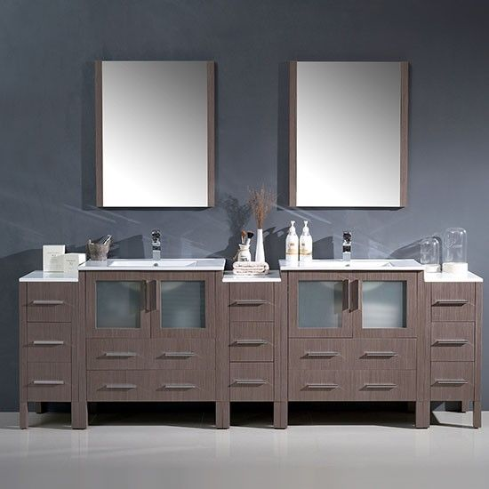 Fresca Torino Double 96 Inch Modern Bathroom Vanity Gray Oak