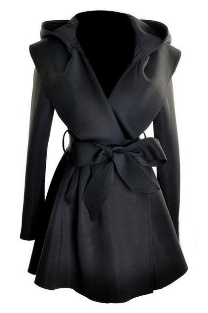 ROMWE | ROMWE Pleated Hooded Belted Long Sleeves Black Coat, The Latest Street Fashion