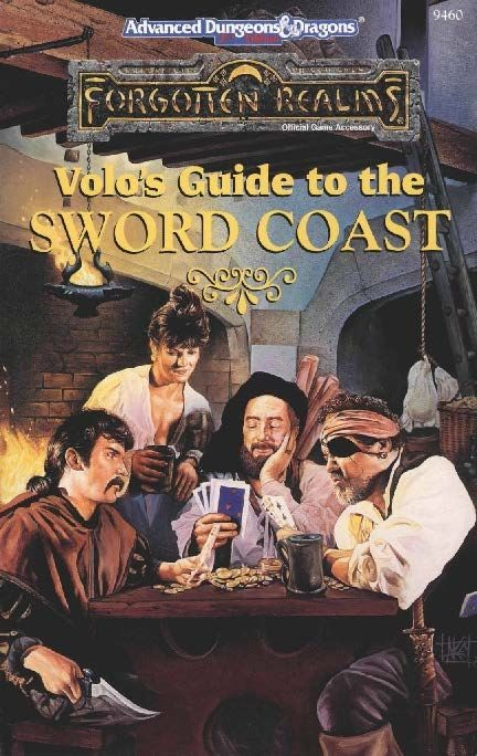 Volo's Guide to the Sword Coast (2e) - Forgotten Realms | Book cover and interior art for Advanced Dungeons and Dragons 2.0 - Advanced Dungeons & Dragons, D&D, DND, AD&D, ADND, 2nd Edition, 2nd Ed., 2.0, 2E, OSRIC, OSR, d20, fantasy, Roleplaying Game, Role Playing Game, RPG, Wizards of the Coast, WotC, TSR Inc. | Create your own roleplaying game books w/ RPG Bard: www.rpgbard.com | Not Trusty Sword art: click artwork for source: