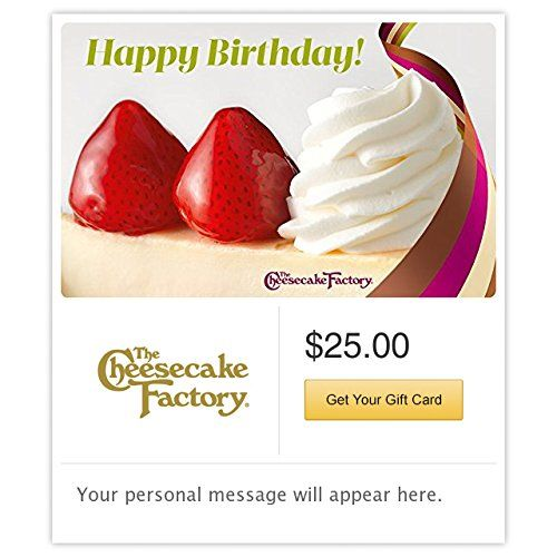 The Cheesecake Factory Birthday Strawberry Cheesecake Gift Cards - E-mail Delivery   The Cheesecake Factory offers more than 200 menu selections including steaks, pastas, specialty salads, pizzas and fresh fish. Don't Read  more http://themarketplacespot.com/accessories-ios/the-cheesecake-factory-birthday-strawberry-cheesecake-gift-cards-e-mail-delivery/