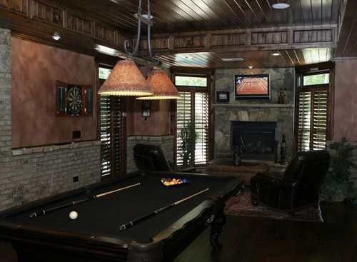 I Like The Black Pool Table, And All The Wood And Stone In The Room | Game  Room | Pinterest | Pool Table, Game Rooms And Room
