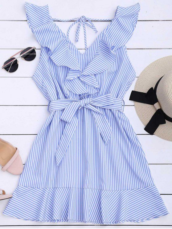 Ruffle Hem Striped Belted Dress - STRIPE M