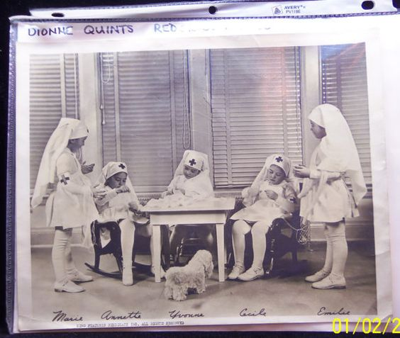 Dionne quintuplets Callander, Ontario, Canada, age 5, Red Cross nurse uniforms. Marie, Annette, Yvonne, Cecile, Emilie Photo king features #woodpens #etsy
