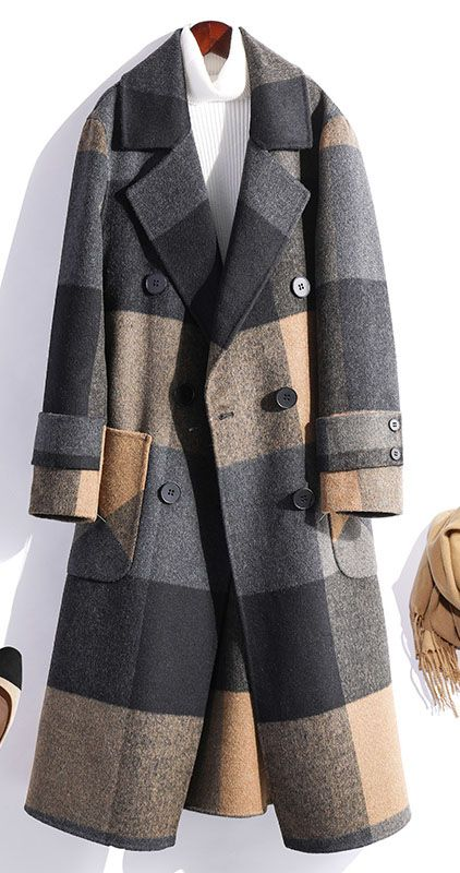 Fashion plaid wool overcoat oversized medium length jackets fall women coats double breast