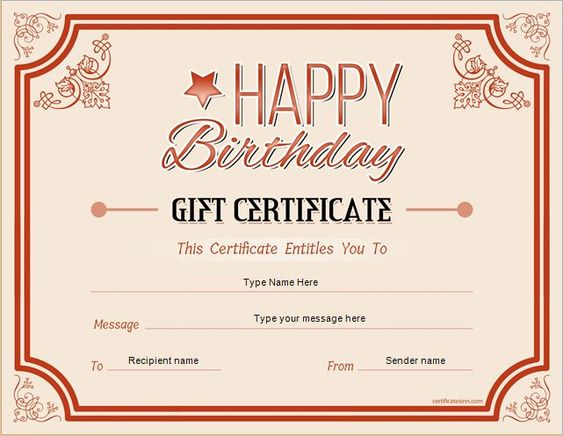 Birthday Gift Certificate For MS Word DOWNLOAD At Http   Ms Office  Certificate Template  Ms Office Certificate Template