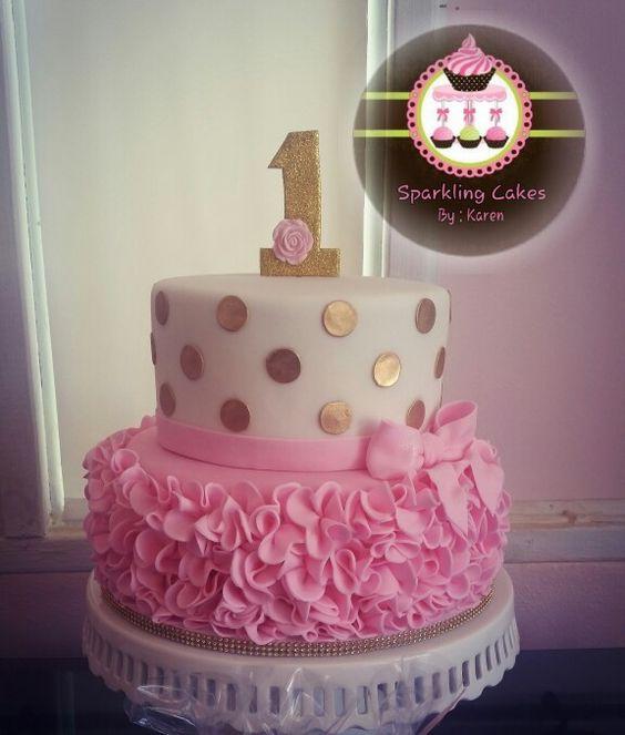 Gold polka dots and pink ruffle cake
