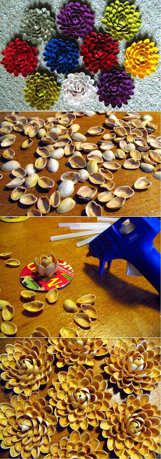 DIY lotus flowers made of pistachio shells, glued together and painted. //   De fleurs de lotus DIY faites de coquilles de pistaches, collées et peintes.