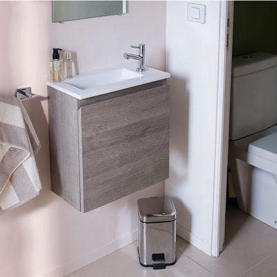 Meuble Sous Vasque Lave Mains Decor Chene Fume Cooke Lewis Calao 45 Cm Lave Main Toilette Meuble Sous Vasque Et Lave Main Wc
