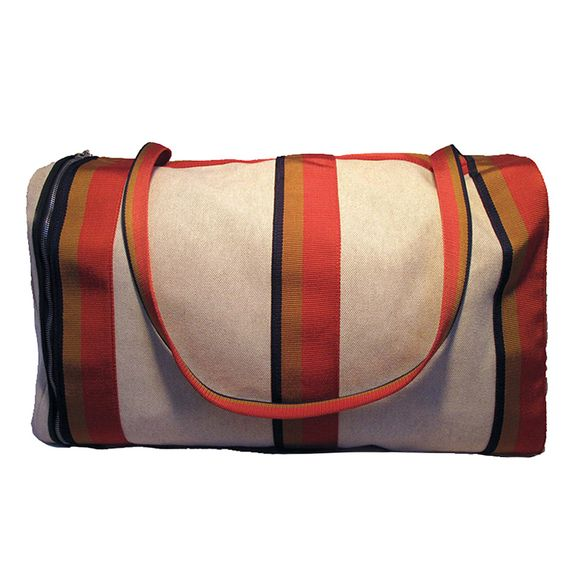 hermes taschen - Hermes Canvas Toile Striped Travel Duffel Shoulder Bag | From a ...