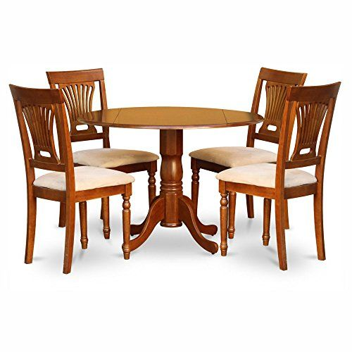 East West Furniture Dublin 5 Piece Drop Leaf Dining Table Set With Plainview Microfiber Small Kitchen Table Sets Solid Wood Dining Set Round Dining Table Sets