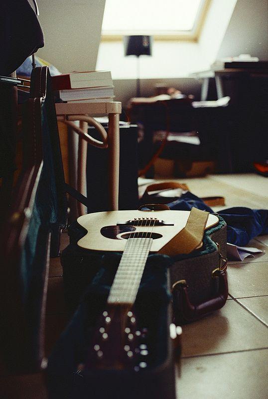 acoustic guitar + case #music #musicalinstruments