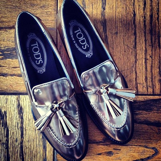 Loafer love: Tod's gets it so right with metallic.