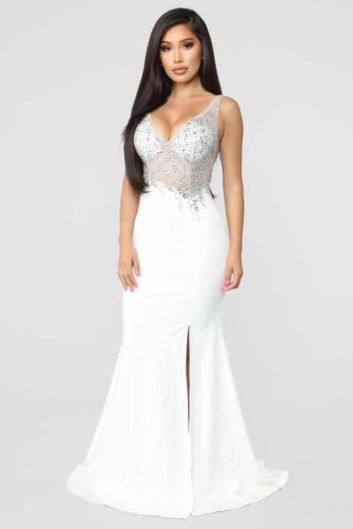 Choose Me Mermaid Maxi Dress White Fashion Nova Embellished Gown Wedding Dresses High Low Dresses