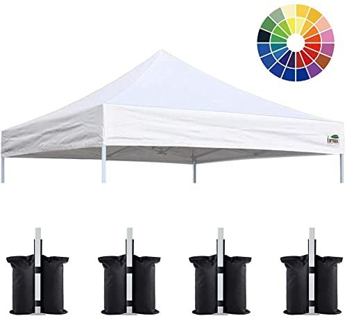 New Eurmax New 10x10 Pop Up Canopy Replacement Canopy Tent Top Cover Instant Ez Canopy Top Cover Only Choose 30 Colors Bonus 4pc Pack Canopy Weight Bag White Online Canopy Tent Canopy