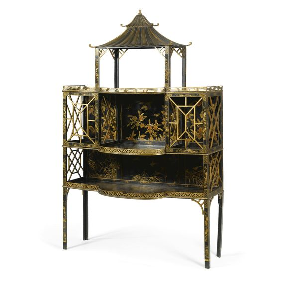 A George Ii Chinese Lacquer And Black And Gilt Japanned Standing Shelf Circa 1755 Attributed To