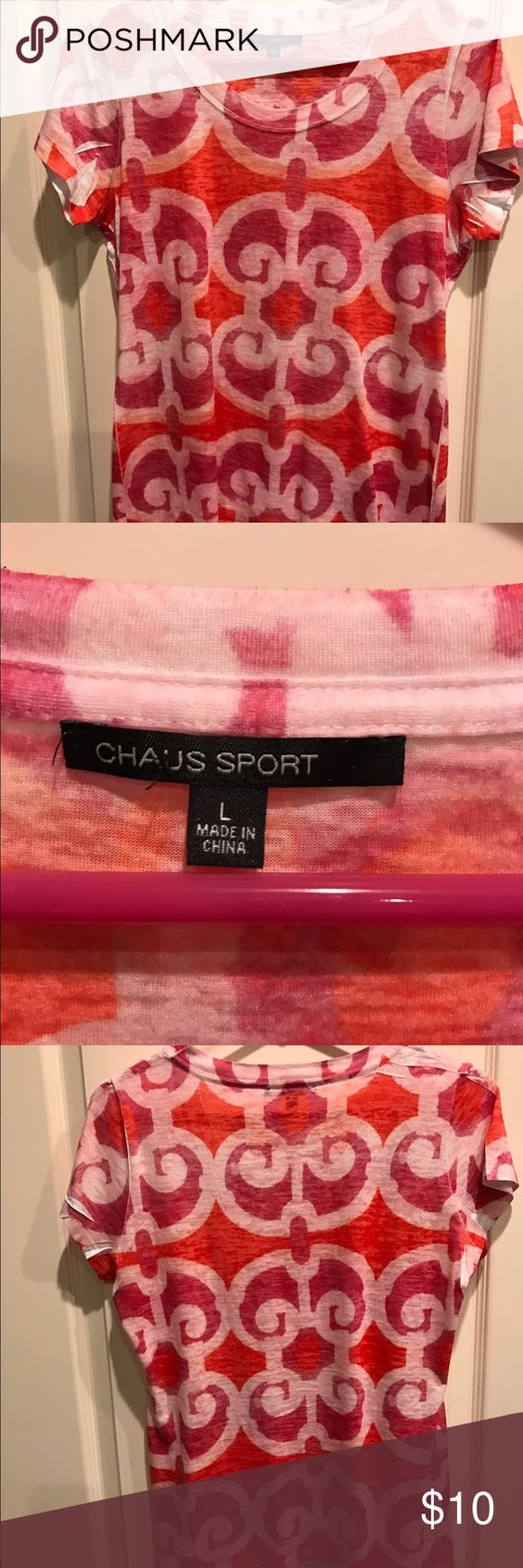 Chaus Sport short sleeve women's T-shirt Sz. L Chaus Sport lightweight short sleeve women's T. Size L. In like new condition ... perfect with so many things!💕🌸🌴thing spring and don't forget to BUNDLE!! Save $$ Chaus Sport Tops Tees - Short Sleeve