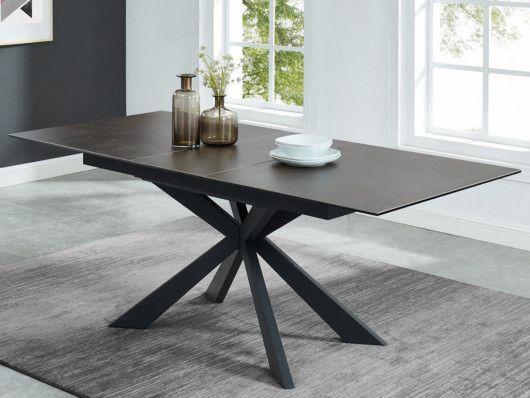 Table A Manger Extensible Alvina 6 A 8 Couverts Ceramique Verre Trempe Table A Manger Extensible Table A Manger Ceramique Table A Manger Noire