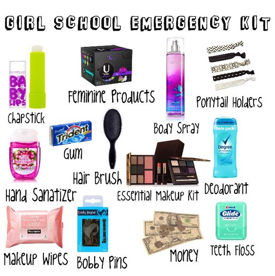 Everything a girl needs in her school emergency kit. Be prepared for any emergency!
