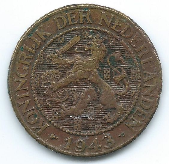 COIN MONEY Suriname Netherlands 1943 Wilhemina 1 Cent Brass  https://ajunkeeshoppe.blogspot.com/