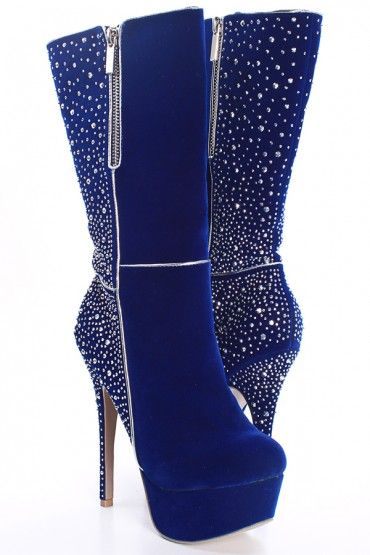 ROYAL BLUE FAUX SUEDE SILVER BEAD ZIPPER ACCENT KNEE HIGH HEEL