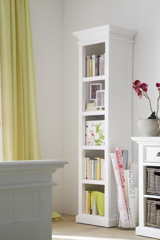 Colonne Bibliotheque Bois Blanc Acajou 50x190cm Royan Mobilier