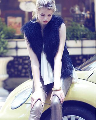 Roy Fur Vest, Leather-Top Tank & Metallic Leather Leggings by Robert Rodriguez at Neiman Marcus.  I can't wait to buy some leather leggings!!!!