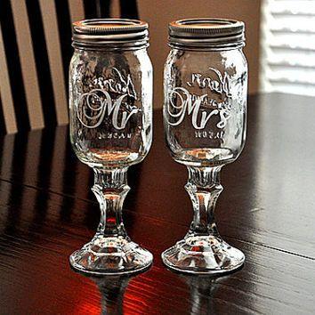 Wedding Redneck Wine Glasses  Mr Mrs Toasting  Mason Jar Hillbilly Wine Glasses