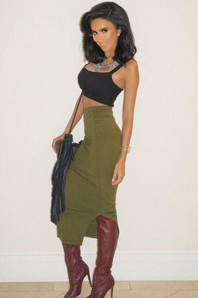 Emma Bodycon Midi Skirt - Olive | skirts to buy | Pinterest ...