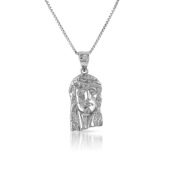 Sterling Silver Jesus Face Necklace