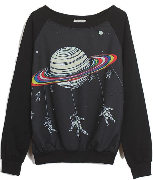 Black Long Sleeve Saturn Astronaut Print Sweatshirt -SheIn(Sheinside)
