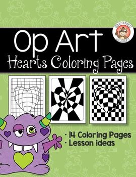 "Not only will your students will ""LOVE"" these Op Art Hearts Coloring Pages, but  you can also sneak in some lessons about colors as you have them choose a color scheme to color them in.  I've included some lesson ideas and definitions of color terms.What you get: 14 pages of coloring pages for students to color  2 pages of lesson ideas/definitions of color termsIf you would like to have your students make their own op art hearts, them you will want to get Op Art Hearts which has all the…"