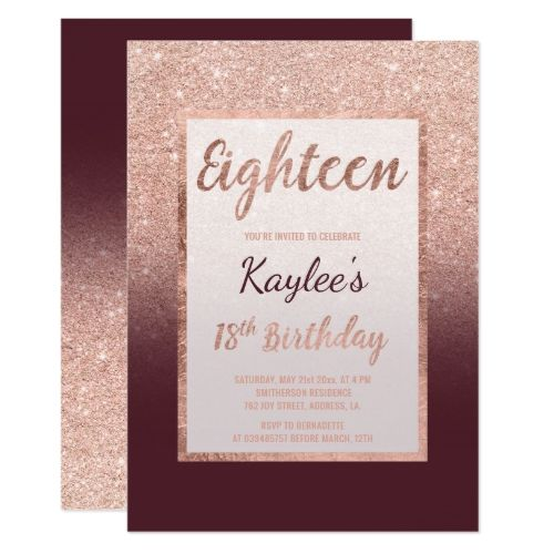 Faux Rose Gold Glitter Burgundy Chic 18th Birthday Invitation