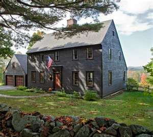 New England iconography in a 17th century style Saltbox house dry