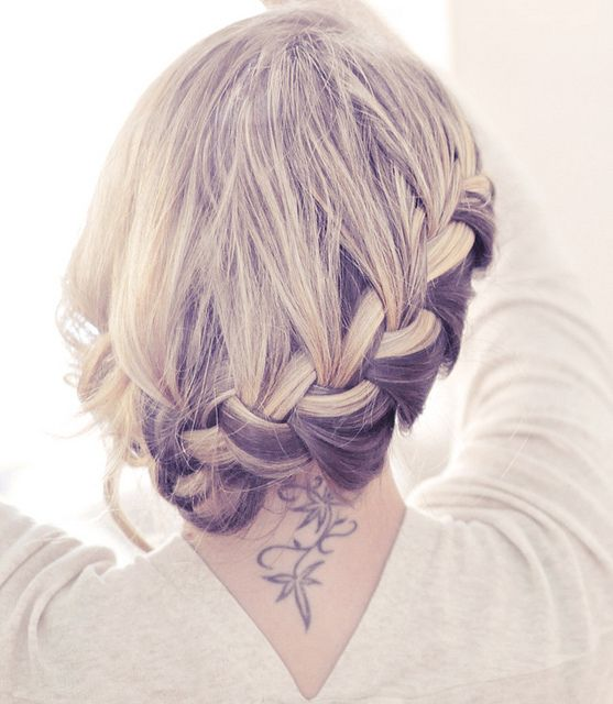 full side french braid low updo
