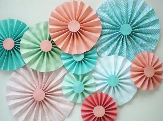 Coral aqua rosettes, set of 10 varying sizes, perfect for wedding, party, home decor mint green