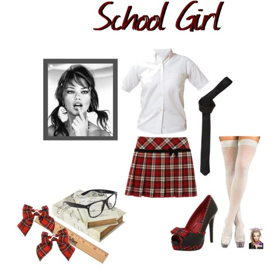 """DIY School Girl Halloween Costume"" by jessicaleila on Polyvore:"
